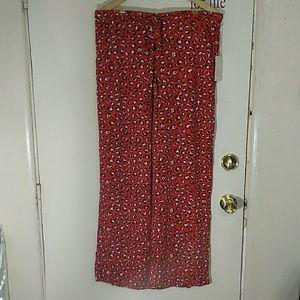 wide leg red printed pants paper bag w/pocket Nwt